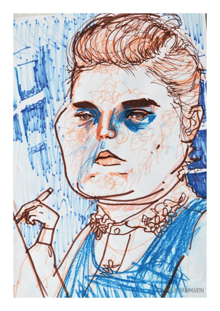 självporträtt. Tusch och pastellkrita på papper