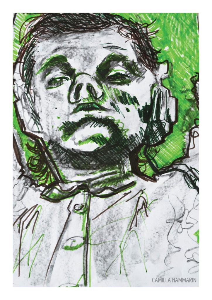 Självporträtt. Tusch och kol på papper