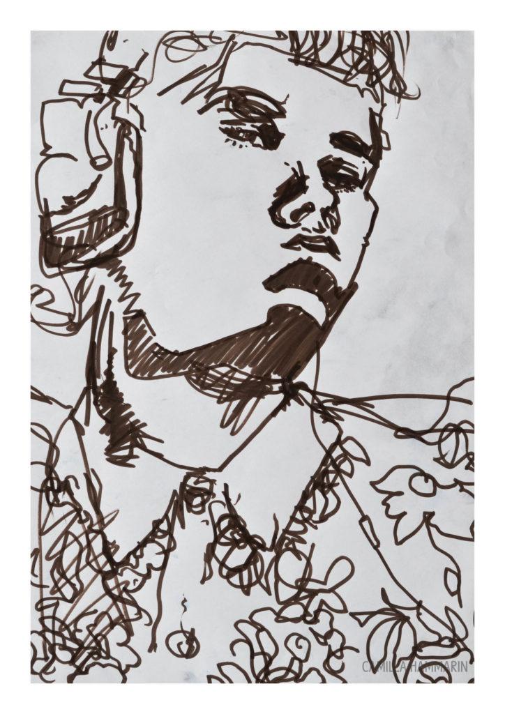 Självporträtt. Tusch på papper