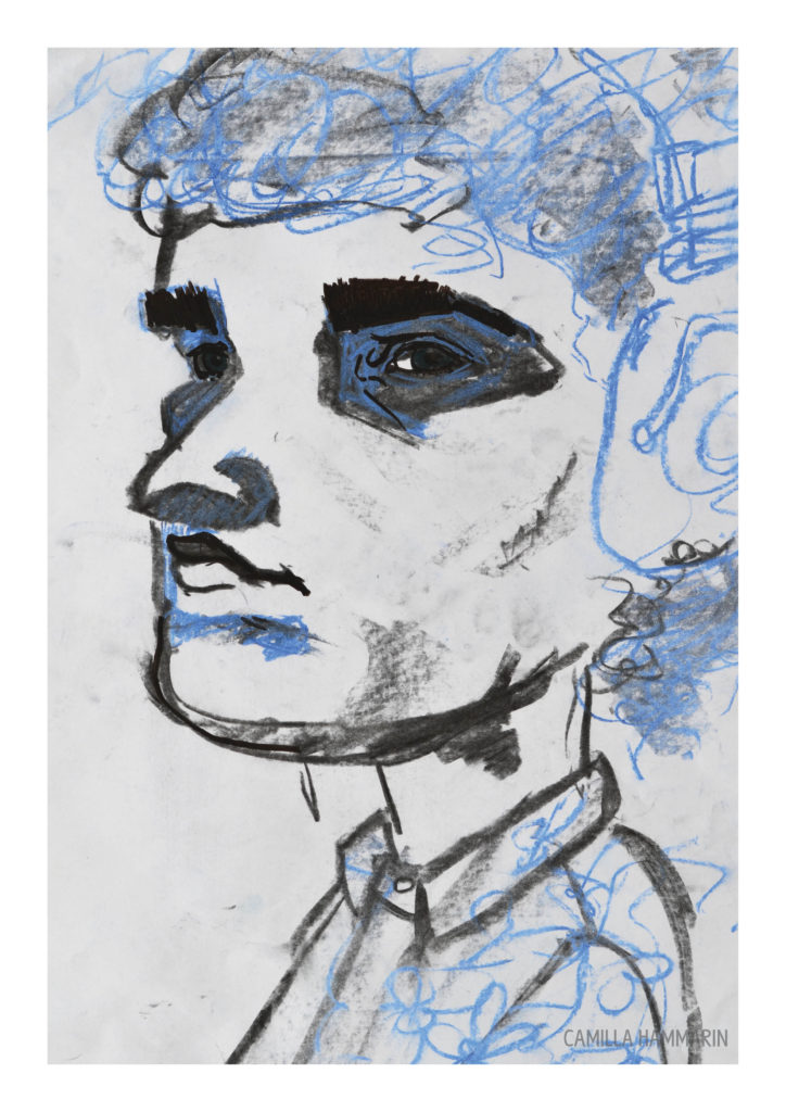 Självporträtt. Kol och pastellkrita på papper