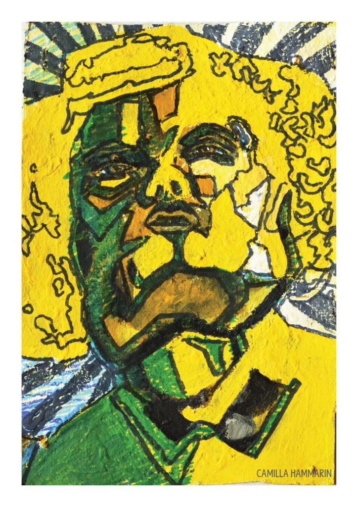 Självporträtt. Akrylfärg och tusch på duk