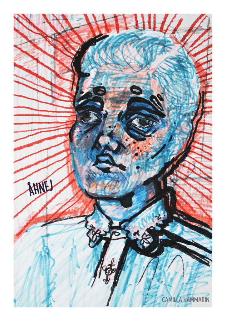 Självporträtt. Blandtekniker på papper